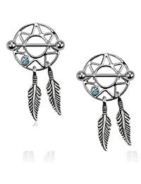"Nipple rings pair CZ barbells Barbell 14 gauge 3/4"" bar Dream catcher feather"