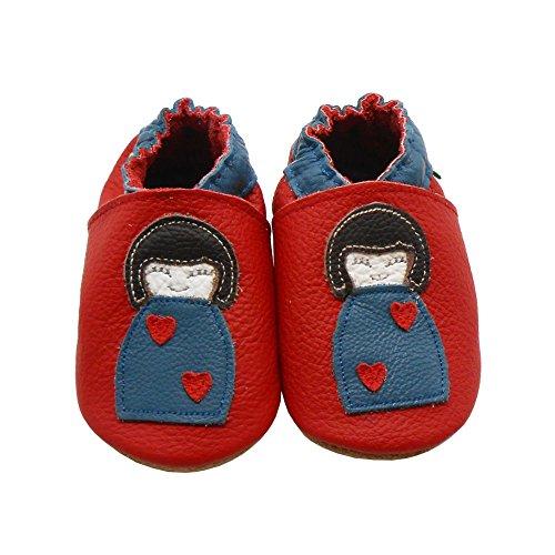 Sayoyo Suaves Zapatos De Cuero Del Bebé Zapatillas Ganso rojo