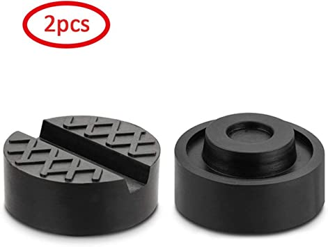 Frame Rail Protector Puck//Pad Keeps Pinch Weld Slotted Pucks - Universal Standard-Size Adapter Mission Automotive 2-Pack of Rubber Jack Pads Paint and Metal Safe