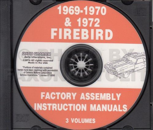COMPLETE 1969, 1970 & 1972 PONTIAC FIREBIRD, 400, TRANS AM FACTORY ASSEMBLY INSTRUCTION MANUAL CD - ALL MODELS