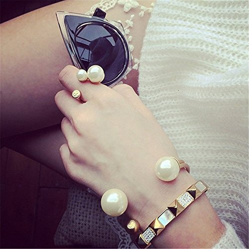 P.phoebus Yellow Gold Pearl Vintage Jewelry Rhinestone Open Adjustable Knuckle Finger Rings 925 Sterling Silver Plated For Women Men (rings) - About Sterling Silver Rhinestone Beads