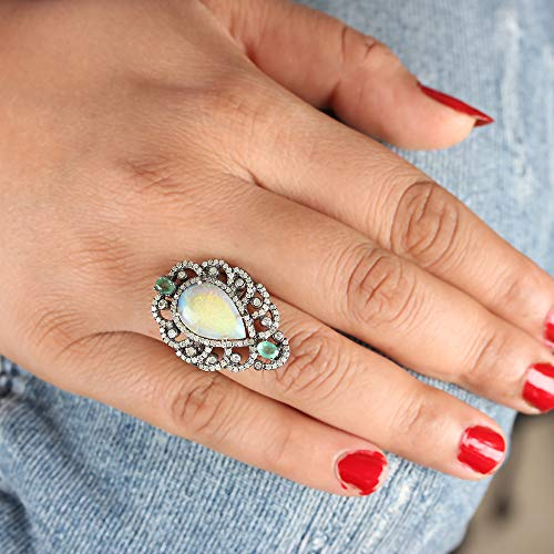 (Genuine Opal Emerald Gemstone Cocktail Ring Diamond Pave Solid 925 Sterling Silver Handmade Fine Jewelry)