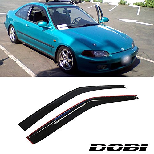 Deebior 2pc Fit 92-95 Civic Coupe/Hatchback Sun/Rain Guard Vent Shade Window Visors