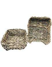 lwingflyer 2pcs Woven Grass Bed Rabbit Hay Mat for Small Animal Bunny Hamster Chinchillas Guinea Pet Chew Toys Bed 23cm/9.05inch