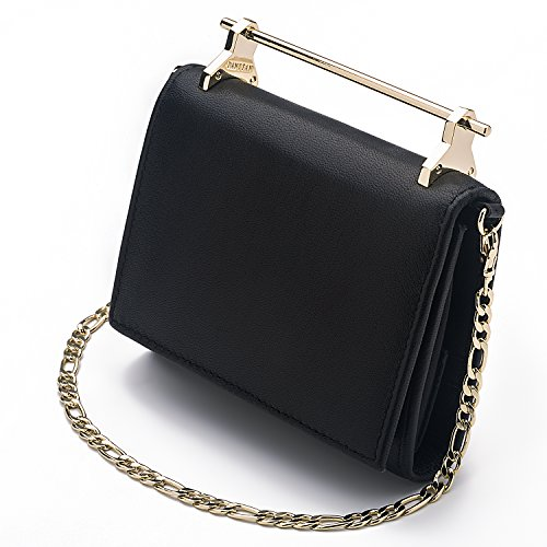 DANTTAN Women Crossbody Wallet Trifold Soft Calfskin Genuine Leather Handbag Black Photo #5