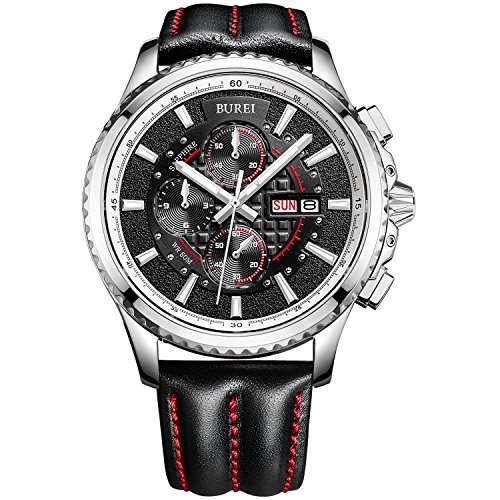 BUREI Men's Luminous Chronograph Day and Date Watch with Silver Bracelet, Silver Bezel Black Dial