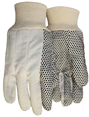 Mens Pvc Dotted Canvas - Carolina Glove & Safety 039-1313 Black PVC Dotted Canvas Gloves, Men's Standard