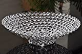 Round Tray Handmade Glass Crystal Beaded Silver Finish Centerpiece