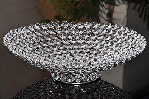 Round Tray Handmade Glass Crystal Beaded Silver Finish Centerpiece -