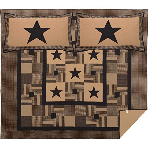 VHC Brands Primitive Bedding Black Check Cotton Pre-Washed Appliqued Star Sham California King Quilt Set, Raven
