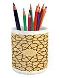 Ambesonne Antique Pencil Pen Holder, Arabesque Star Shapes on Retro Design with Fractures Classic Islamic Mosque Print, Printed Ceramic Pencil Pen Holder for Desk Office Accessory, Cream Brown