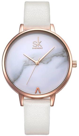 Blanc Bracelet Femme Rose Avec Cuir Montre Sk Jféesk Or En strQhdC