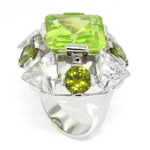 Ring Cocktail Diva (Bold & Alluring Creation - Diva Large Cocktail Ring with Peridot & White CZs Size 10)