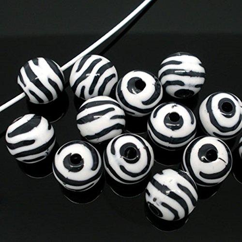 Zebra Striped Acrylic Spacer Round Beads Craft Findings Jewelry Making DIY Kid School