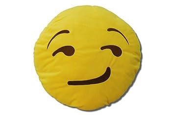 Katara 1788 Cojín Redondo Emoji Almohadilla Emoticono Whatsapp, Almohada Smiley De Peluche, Para Sofá