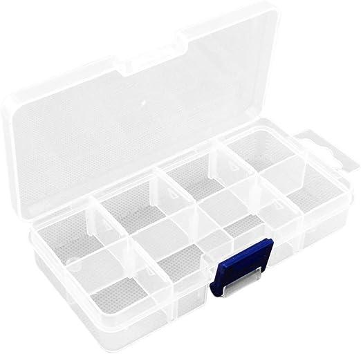 SUPVOX 8 ranuras caja de almacenamiento de plástico compartimentos de caja de joyería divisores extraíbles para cuentas de joyería pequeños accesorios: Amazon.es: Hogar