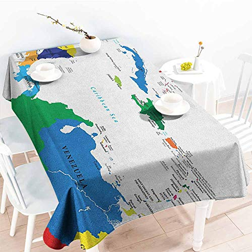 EwaskyOnline Custom Tablecloth,Map Central America and The Caribbean Islands Map Countries Cities Names Regions Locations,High-end Durable Creative Home,W52x70L, Multicolor -