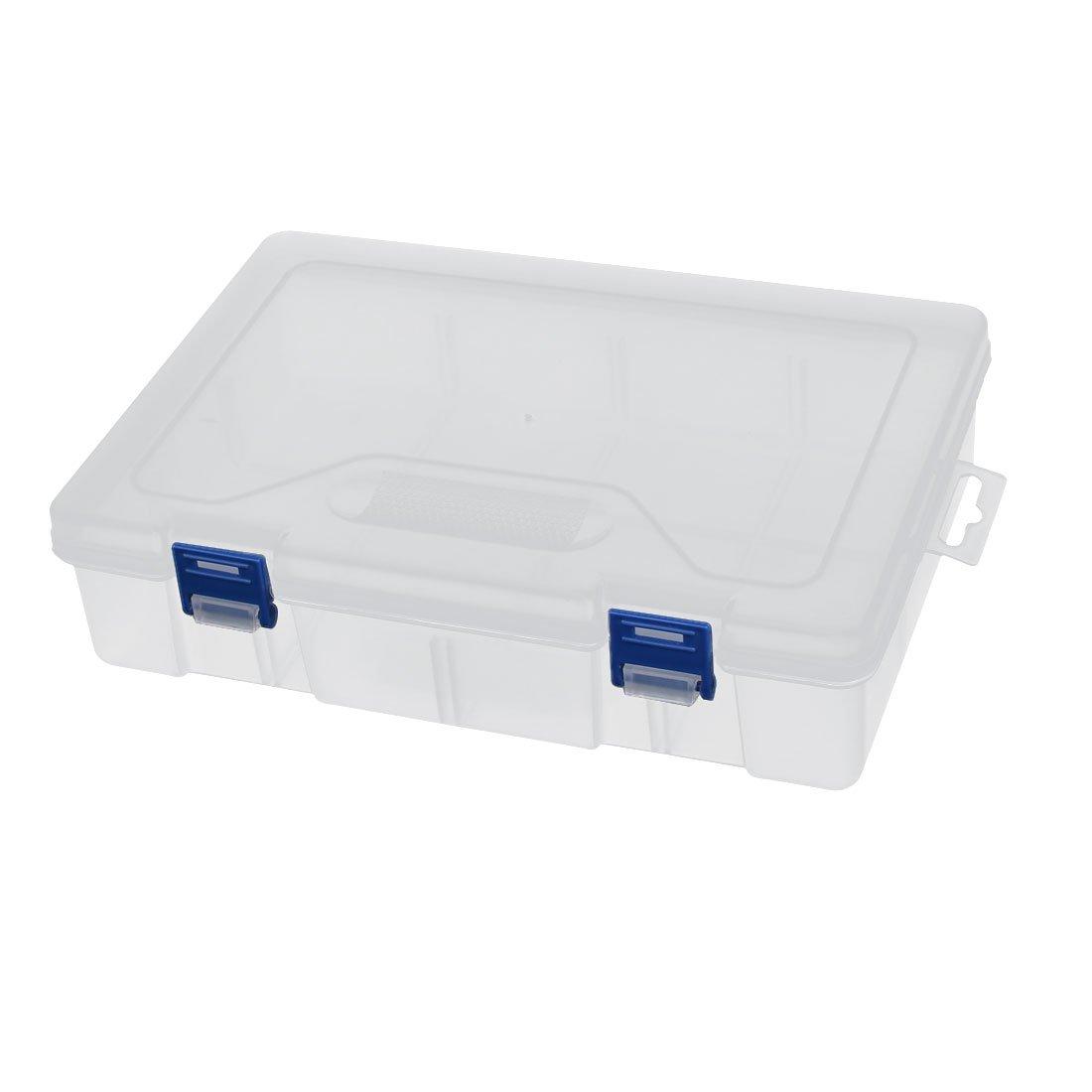 uxcell 240mmx160mmx58mm 8 Slot 2 Buckle Component Storage Organizer Empty Case DIY Tool