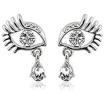 Kanggest Evil Eye Angel's Tears Earring Artificial Crystal Eyelashes Teardrop Dangle Earrings for Women Girls Bridal (Silver)