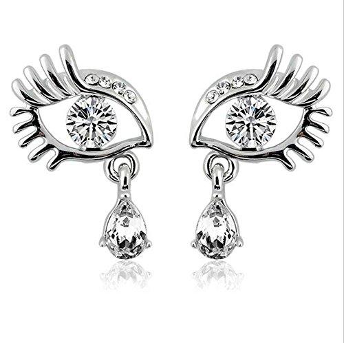 gel's Tears Earring Artificial Crystal Eyelashes Teardrop Dangle Earrings for Women Girls Bridal (Silver) ()