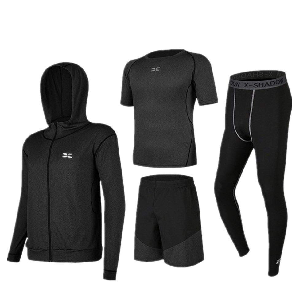 Wuxingqing Gym Wear Fitness Bekleidung Set 4 Pcs Men Quick Dry Compression Sports Set mit Outwear, Kompressionshosen, Kurzarm-T-Shirt, Shorts (Color : Black Gray, Size : M)