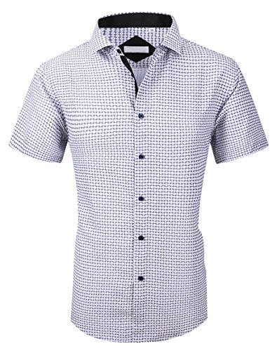 Esabel.C Mens Short Sleeve Printed Dress Shirts Regular Fit Casual Button Down Shirts S ()
