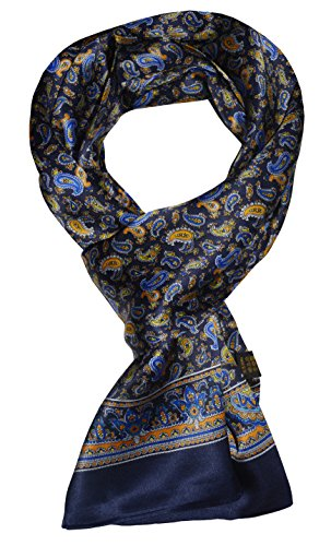 Ellettee, 63″ x 11″ Man's 100 Pure silk scarf wrap Accessory gift (Paisley Blu ...