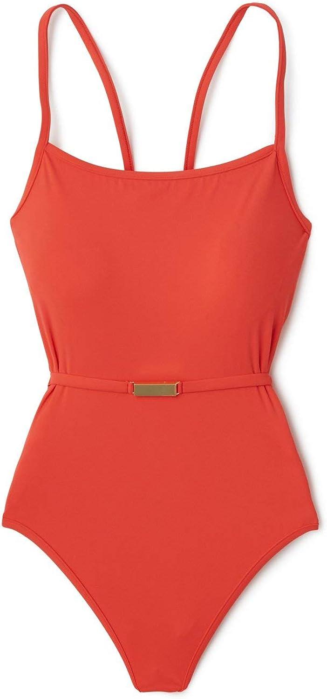 Diane von Furstenberg Womens Belted Over The Shoulder One Piece Swimsuit Swimsuit