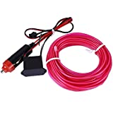EL Wire, AutoEC 16 Feet 5M Sewing Edge Flexible Neon Light Glow EL Wire Rope Tape Cable Strip LED Neon Lights for Parties Decoration (Purple)
