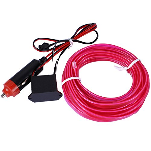 EL Wire, AutoEC 16 Feet 5M Sewing Edge Flexible Neon Light Glow EL Wire Rope Tape Cable Strip LED Neon Lights for Parties Decoration -