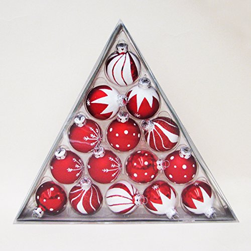 Victorian Christmas Tree Decorations - Kurt Adler 1.57-Inch Red/White Decorated Glass Ball Ornament set of 15
