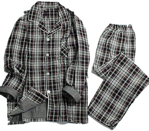パジャマ 春と夏の綿の格子縞のパジャマ男性長袖パジャマ男性プラスサイズのレジャーパジャマパジャマ レディース部屋着 (Color : A, Tamaño : M)