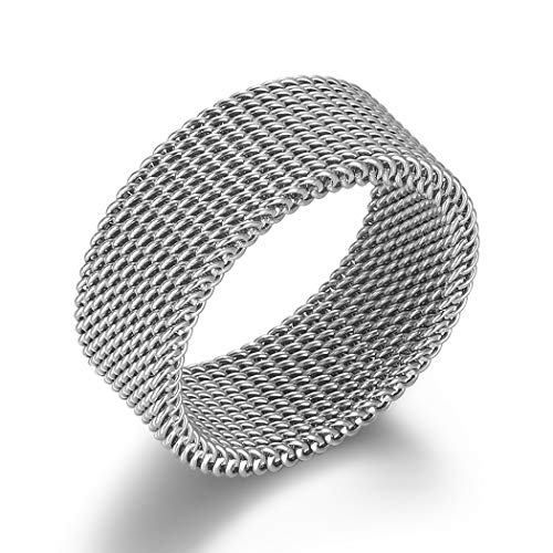 VQYSKO Silver Woven Mesh Rings for Women Men Jewelry Stainless Steel Rings Size 6 to 10 (6)