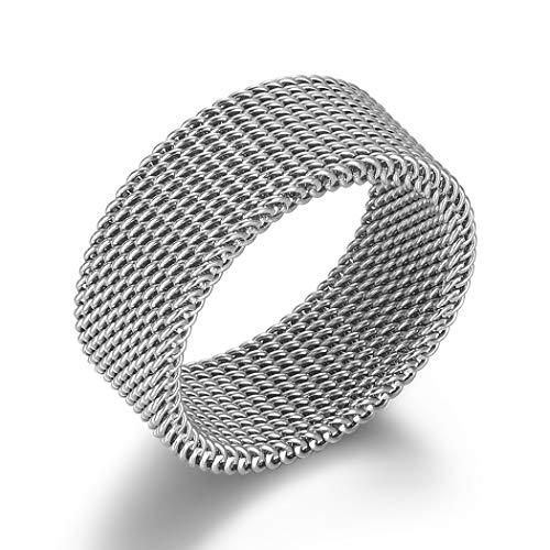 VQYSKO Silver Woven Mesh Rings for Women Men Jewelry Stainless Steel Rings Size 6 to 10 (7) (Stainless Steel Ring Mesh)