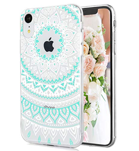 iPhone XR Case Cute Lace Paisley Flowers Watercolor Floral White Cyan Mandala Pattern Clear IMD Hybrid Hard TPU Back Cover Shockproof Protective Best Phone Cases for Women Girls[6.1
