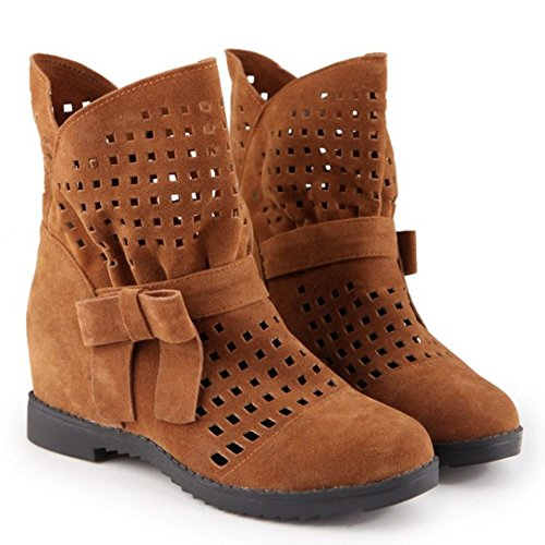 Increasing Brown Height Cut Fashion Boots Size Women Extra Short 416 Yellow Out KemeKiss R7wStt