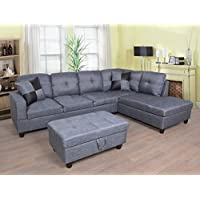 Beverly Fine Furniture F128B Right Facing Linen Russes Sectional Sofa Set with Ottoman, GREY