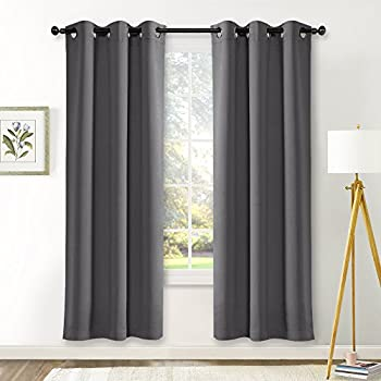 NICETOWN Bedroom Blackout Draperies Curtains Panels Three Pass Microfiber Noise Reducing Thermal Insulated Solid Ring Top Blackout Window Curtains (Two Panels,42 x 72 Inch,Gray)