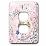 3dRose Uta Naumann Sayings and Typography - Cute Pink Spring Bird Mom Kids Animal Illustration - Love In Air - Light Switch Covers - 2 plug outlet cover (lsp_275601_6)