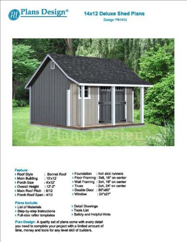 14' x 12' Storage Shed with Porch Plans for Backyard Garden - Design #P81412