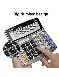 Calculadora de oficina Xinpengfa, superficie metálica, pantalla de 12 dígitos y botón grande, calculadora de potencia de dos vías