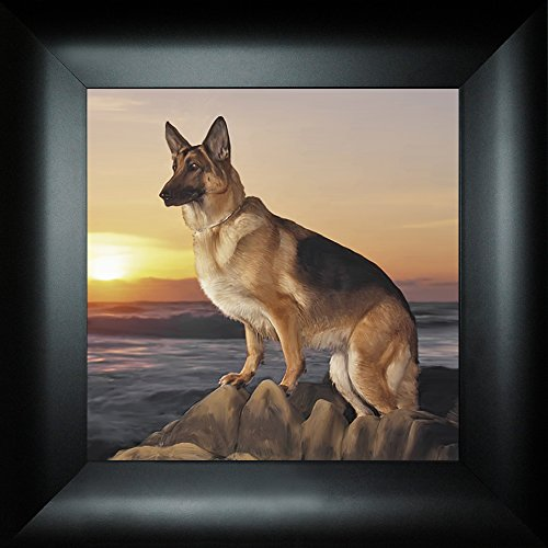 Sentinel By Todd Thunstedt 18x18 German Shepherd Police Force Policeman Patrol Patrolman Highway Trooper Peace Ranger NYPD Sheriff Deputy Law Car Enforcement Chief Framed Art Print Wall Décor Picture