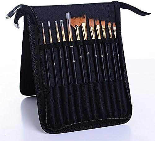 13-teilig Pinsel-Set inklusive 1 PCS tragbar Fall und 1 PCS BONUS Palette Art Pinsel für Acryl/Aquarell/ÖL/Face Painting schwarz