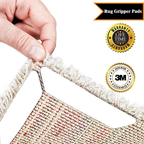 Rug Grippers – Best 10 pcs Anti Curling Rug Gripper. Keeps Your Rug in Place & Makes Corners Flat. Premium Carpet Gripper with Renewable Carpet Tape – Ideal Non Slip Rug Pad for Your Rug!