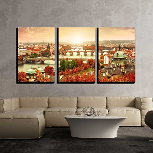 Sunset Landscape View to Charles Bridge on Vltava River in Prague Czech Republic x3 Panels