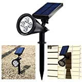 AGPTEK [180°Angle Adjustable] Bright Solar LED Light Outdoor/ Rechargeable Waterproof Solar Powered Spotlight / Landscape Light / Auto-on at Night and Auto-off by Day/ Spot Light Fixture Lamp For Garden, Pool Pond Patio, Deck, Yard, Garden (1 Pack)