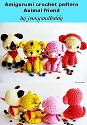 Amigurumi crochet pattern animal friends cat,tiger,monkey,pig (English Edition)