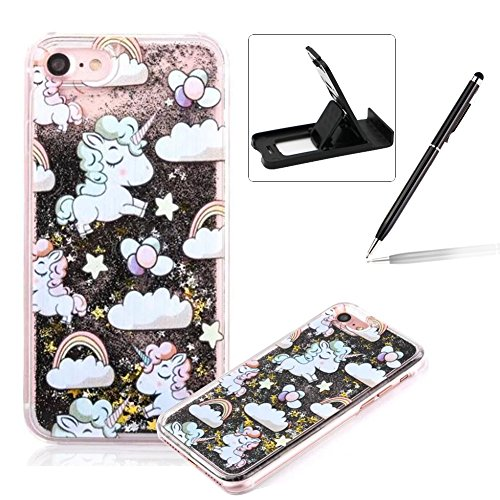 Liquid Hard Case for iPhone SE,Black Glitter Clear Case for iPhone 5S,Herzzer Creative Funny Cartoon Unicorn Pattern Flowing Floating Stars Quicksand Sparkly Crystal Back Cover Case