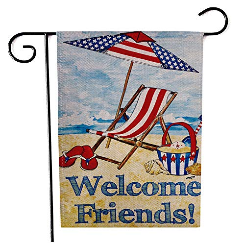 ChezMax Double-Sided Flower Linen Garden Flag Outdoor Floral Holiday Yard Flags Seasonal Decorative Flags for Garden Yard Lawn American Flag - Welcome Friends