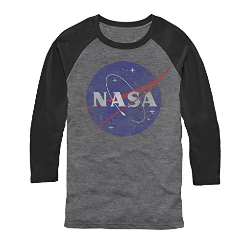 Fifth Sun NASA Men's Logo Arctic Gray/Black Baseball Tee -